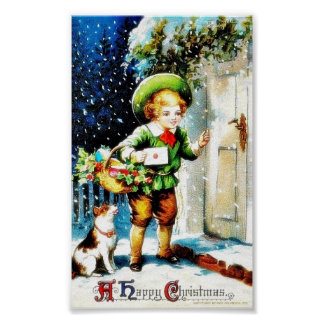 Christmas greeting with a guy knocks the door with poster
