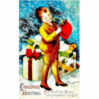 Christmas greeting with a guy standing with gifts photo sculpture