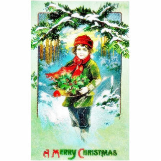 Christmas greeting with a guy walking with basket cut out