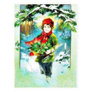 Christmas greeting with a guy walking with basket postcard