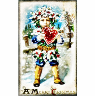 Christmas greeting with a guy worn dress with leav acrylic cut outs