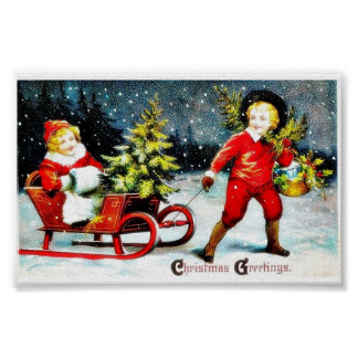 Christmas greeting with a holding  a basket of hol print