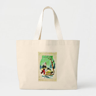 Christmas greeting with a man going with gifts in jumbo tote bag