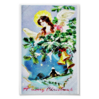 Christmas greeting with an angel and bells tied posters
