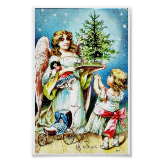 Christmas greeting with an angel carrying christma poster