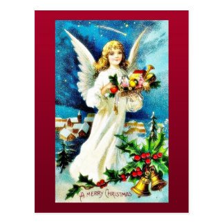 Christmas greeting with an angel comes with hand f postcard