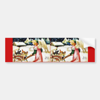 Christmas greeting with an angel dragging a wheel bumper sticker
