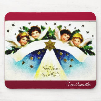 Christmas greeting with an angel plays music mouse pad