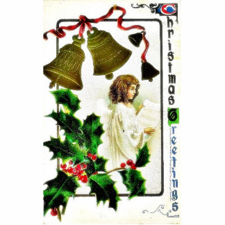 Christmas greeting with an angel ready a paper and photo sculpture