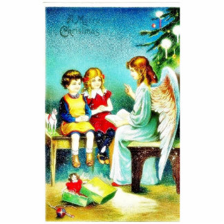 Christmas greeting with an angel telling bible nar statuette