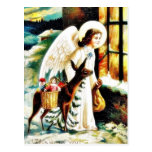 Christmas greeting with an angels comes by deer ca post cards