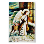 Christmas greeting with an angels comes by deer ca print