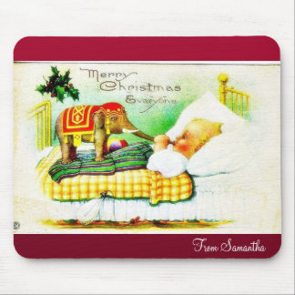 Christmas greeting with an elephant wishes a baby mousepads