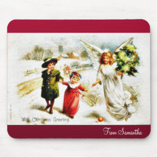 Christmas greeting with angel comes with christmas mouse pad