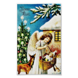 Christmas greeting with angel holding basket of gi poster