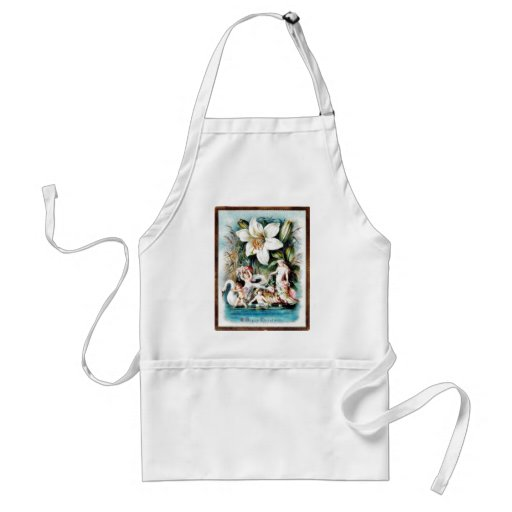 Christmas greeting with angels on swan with lot of adult apron