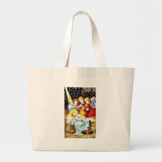 Christmas greeting with Angels praying infront of Tote Bag