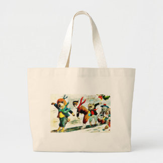 Christmas greeting with animals wore humad dress a tote bags