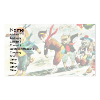 Christmas greeting with animals wore humad dress a business card