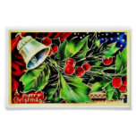 Christmas greeting with bell and holy leaves print
