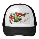 Christmas greeting with bell with ribbons hat