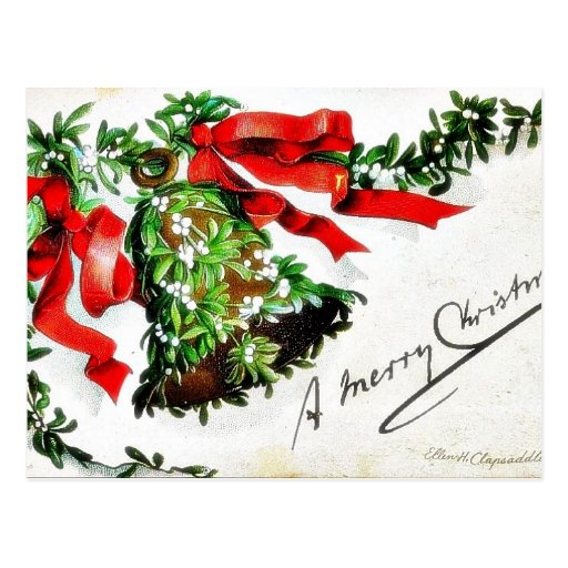 Christmas greeting with bell with ribbons post cards