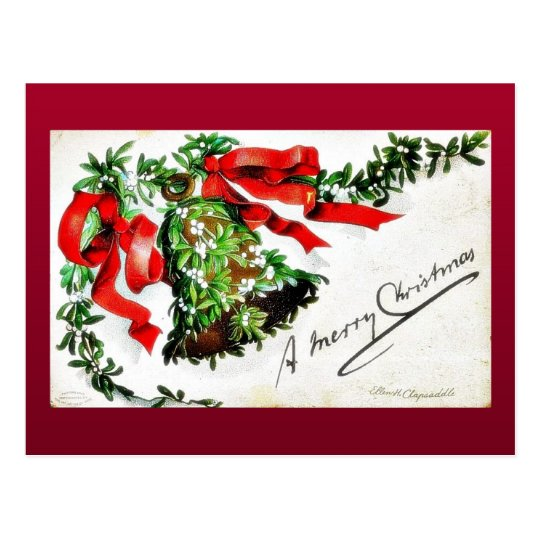 Christmas greeting with bell with ribbons postcard