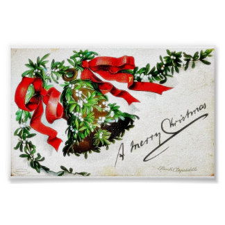 Christmas greeting with bell with ribbons poster