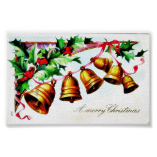 Christmas greeting with bells tied on a ribbon print