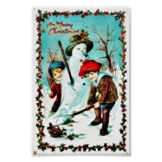 Christmas greeting with boy and girl in snow land poster