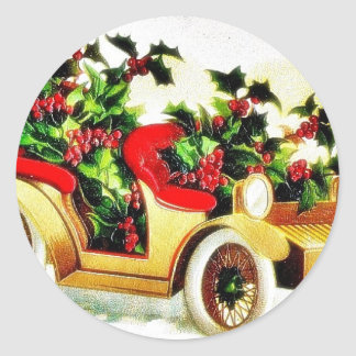 Christmas greeting with car full of holy leaves stickers