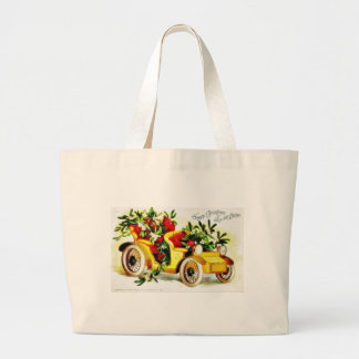 Christmas greeting with car with holy leaves tote bags