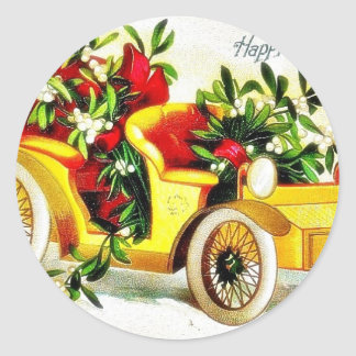 Christmas greeting with car with holy leaves sticker