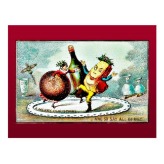 Christmas greeting with cartoon of wines and fruit postcard