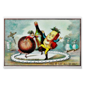 Christmas greeting with cartoon of wines and fruit poster