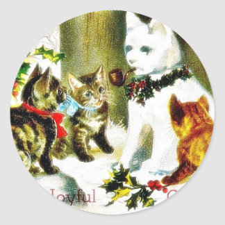 Christmas greeting with cats meeting classic round sticker