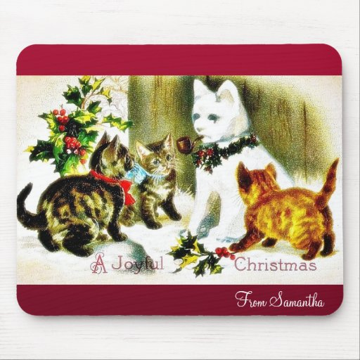 Christmas greeting with cats meeting mousepad