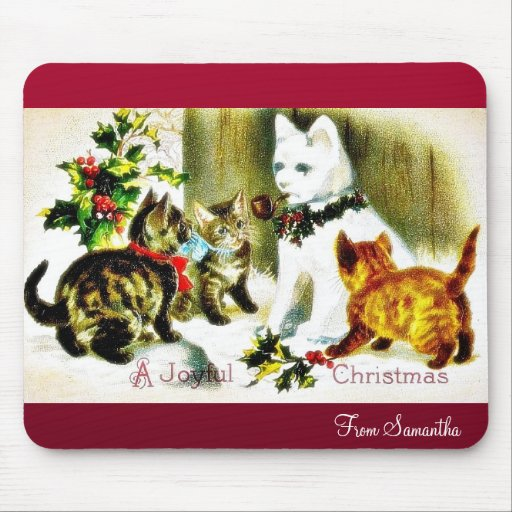 Christmas greeting with cats meeting mouse pads
