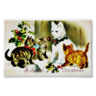 Christmas greeting with cats meeting print