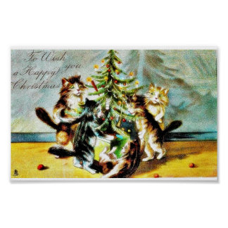 Christmas greeting with cats playing around the ch print