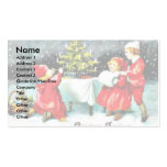 Christmas greeting with children playing around th business card template