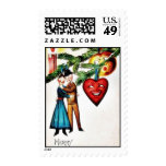 Christmas greeting with couples dancing postage