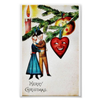 Christmas greeting with couples dancing poster