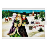 Christmas greeting with couples going with gifts a cards