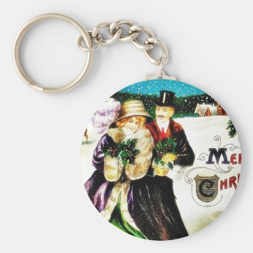 Christmas greeting with couples going with gifts a keychain