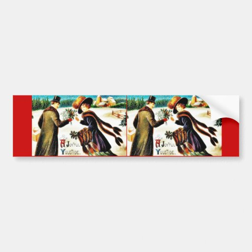 Christmas greeting with couples sharing holy leave car bumper sticker