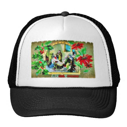 Christmas greeting with crib trucker hat