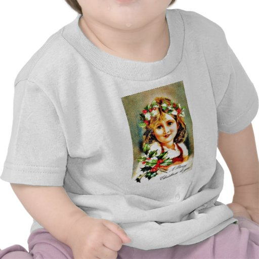 Christmas greeting with cute girl t shirts