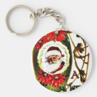 Christmas greeting with decorated santa claus phot key chain