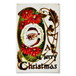 Christmas greeting with decorated santa claus phot poster